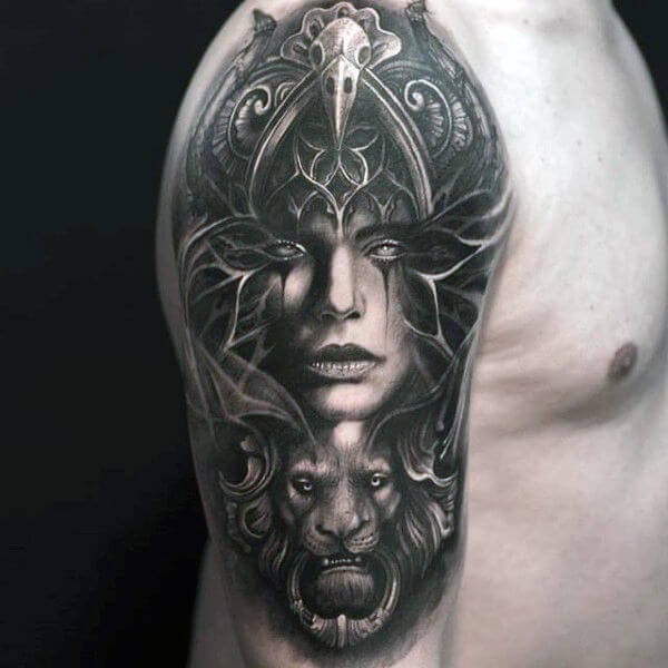 abstract portrait cool mens sleeve tattoos on shoulder
