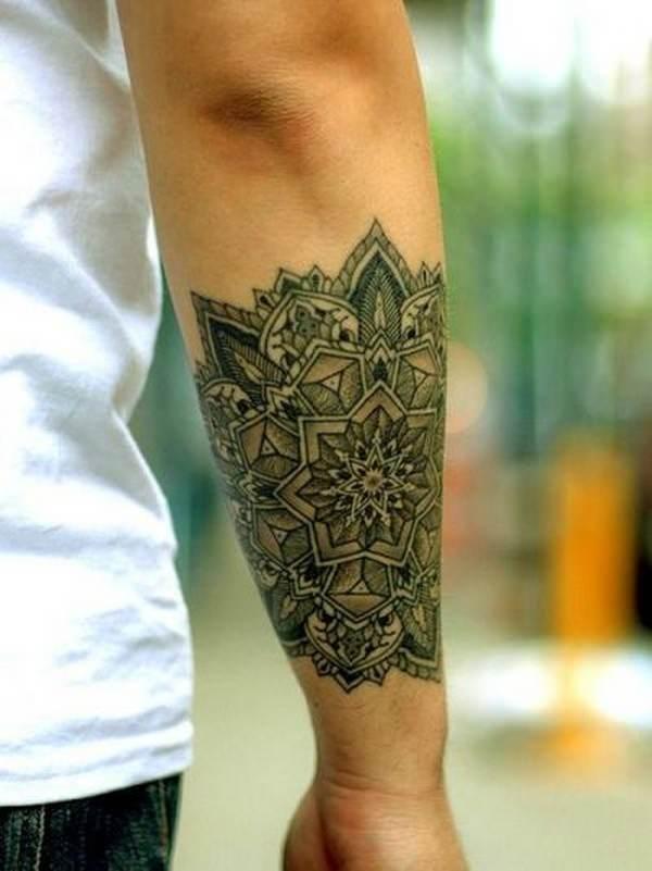 mandala flower tattoo ideas arm male design