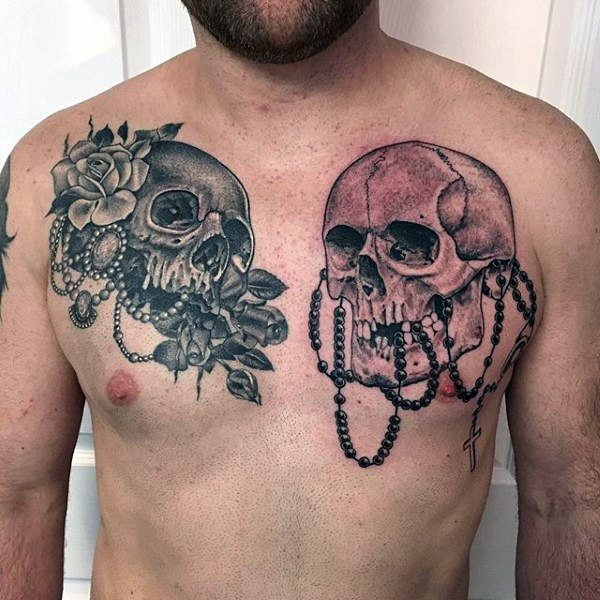 rosary with cross skull tattoo on chest for male