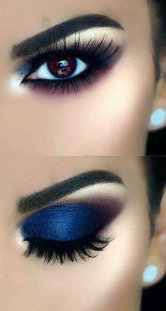 modern blue and silver eye makeup women ideas