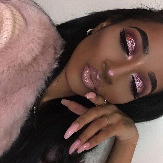 pink eyeshadow step by step