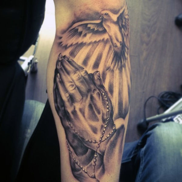 temporary best praying hands tattoo with dove arm design
