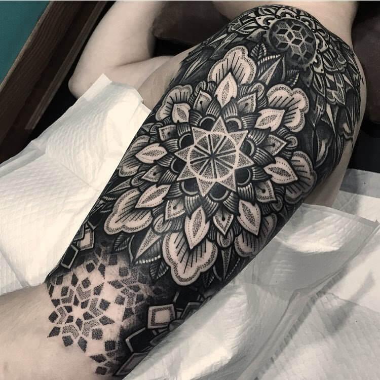 unique  flower mandala tattoo full sleeve design for men