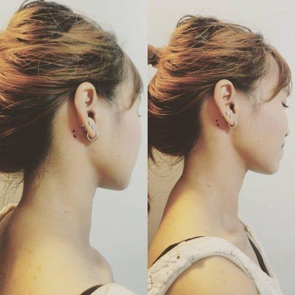 small tattoo ideas semicolon behind ear ladies