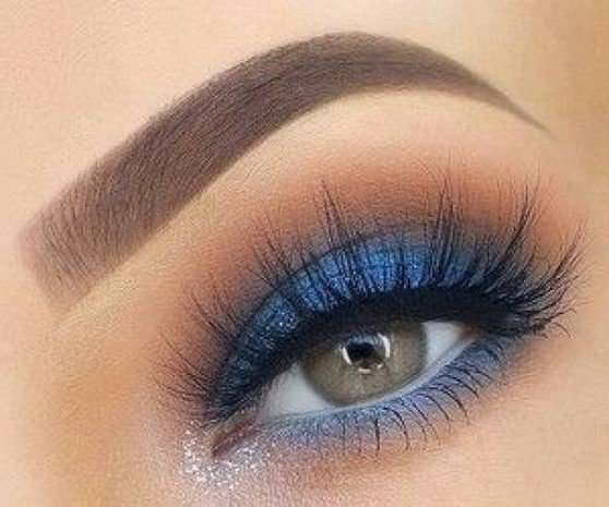 ladies blue and yellow eye makeup images