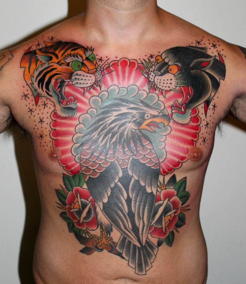 bird chest piece cover up tattoo design images
