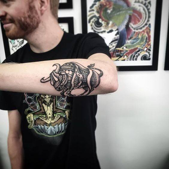 bull skull tattoos for guys