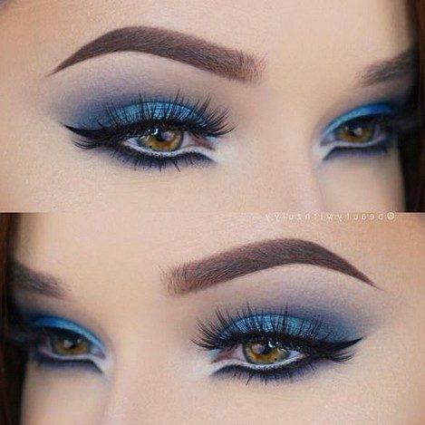great blue and purple eye makeup art work