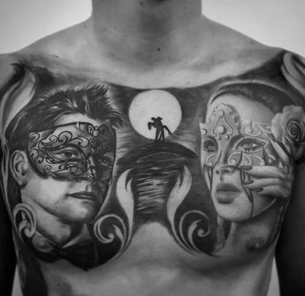 best mens geometric tattoos on chest images
