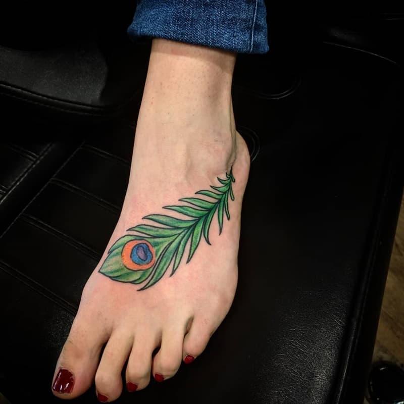 ladies peacock foot tattoo images