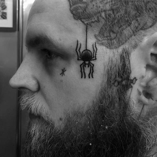 small spider tattoo on face for guys images