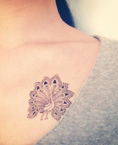 Mandala flower peacock tattoo design images on chest