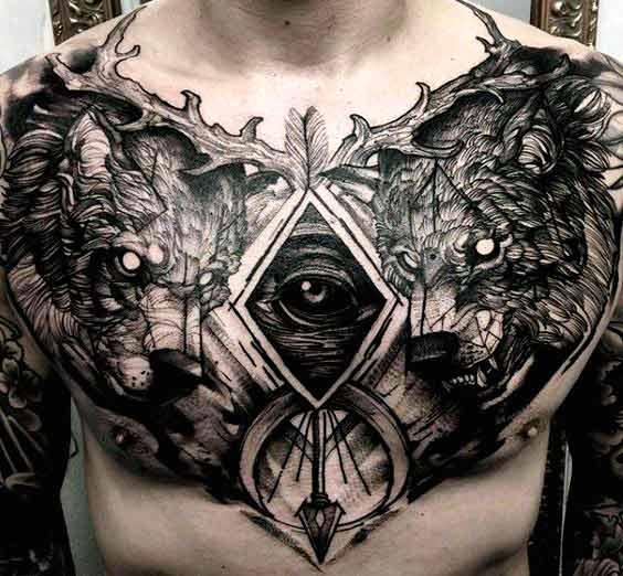 black wolf tattoo design chest design