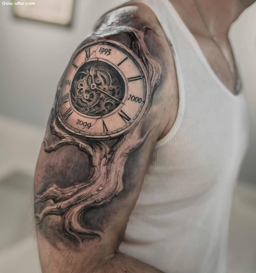 best male sleeve tattoos clock design ideas