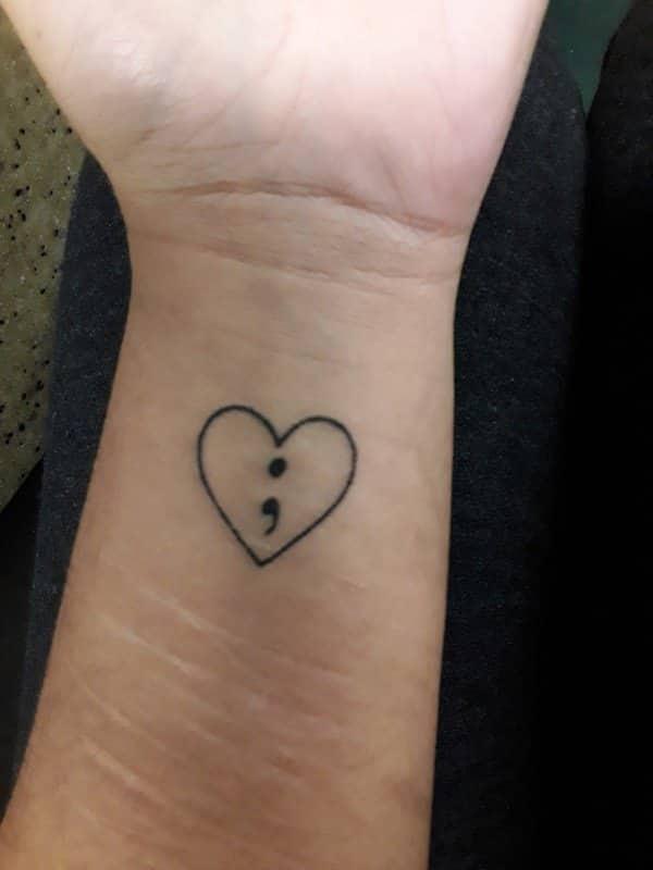 heart cute semicolon tattoos for females