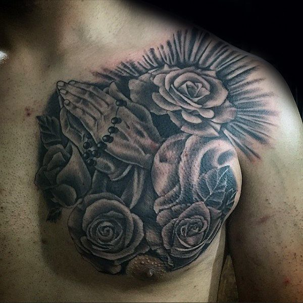 best praying hands with rosary and roses on chest images