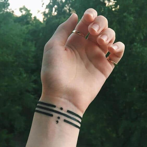 beautiful tattoos for ladies semicolon symbol design