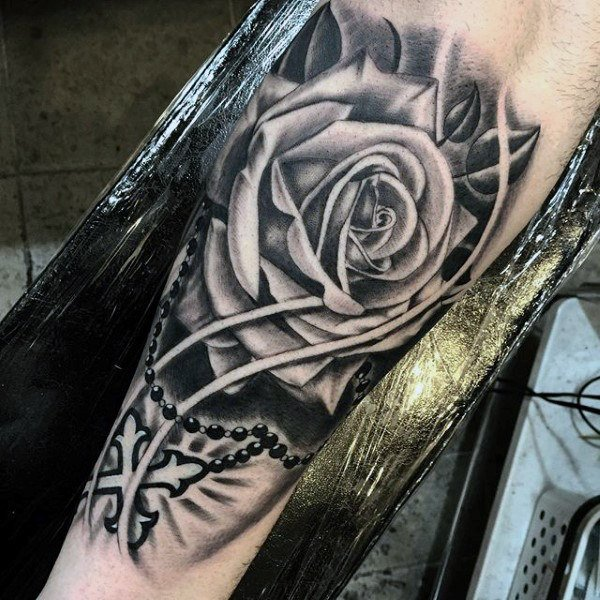 black rose and rosary tattoo designs images for men