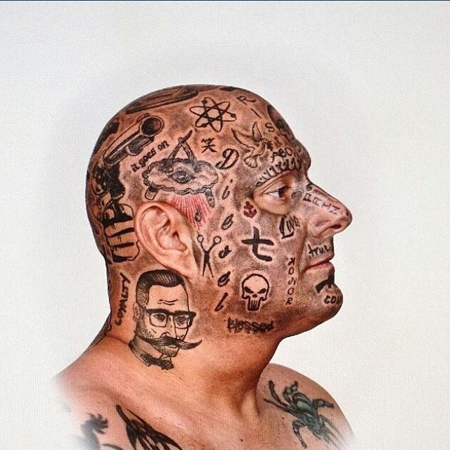 mens side face tattoos