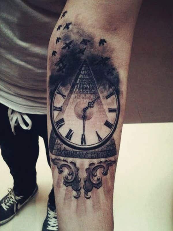 clock cool forearm tattoos for men