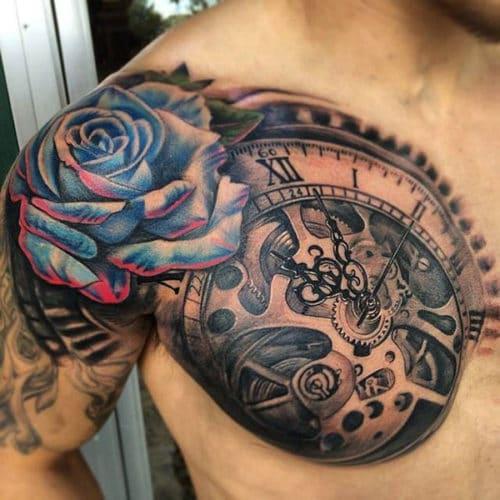 Best rose clock best sternum tattoos images