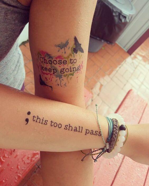 symbolic tattoos for women with semicolon design
