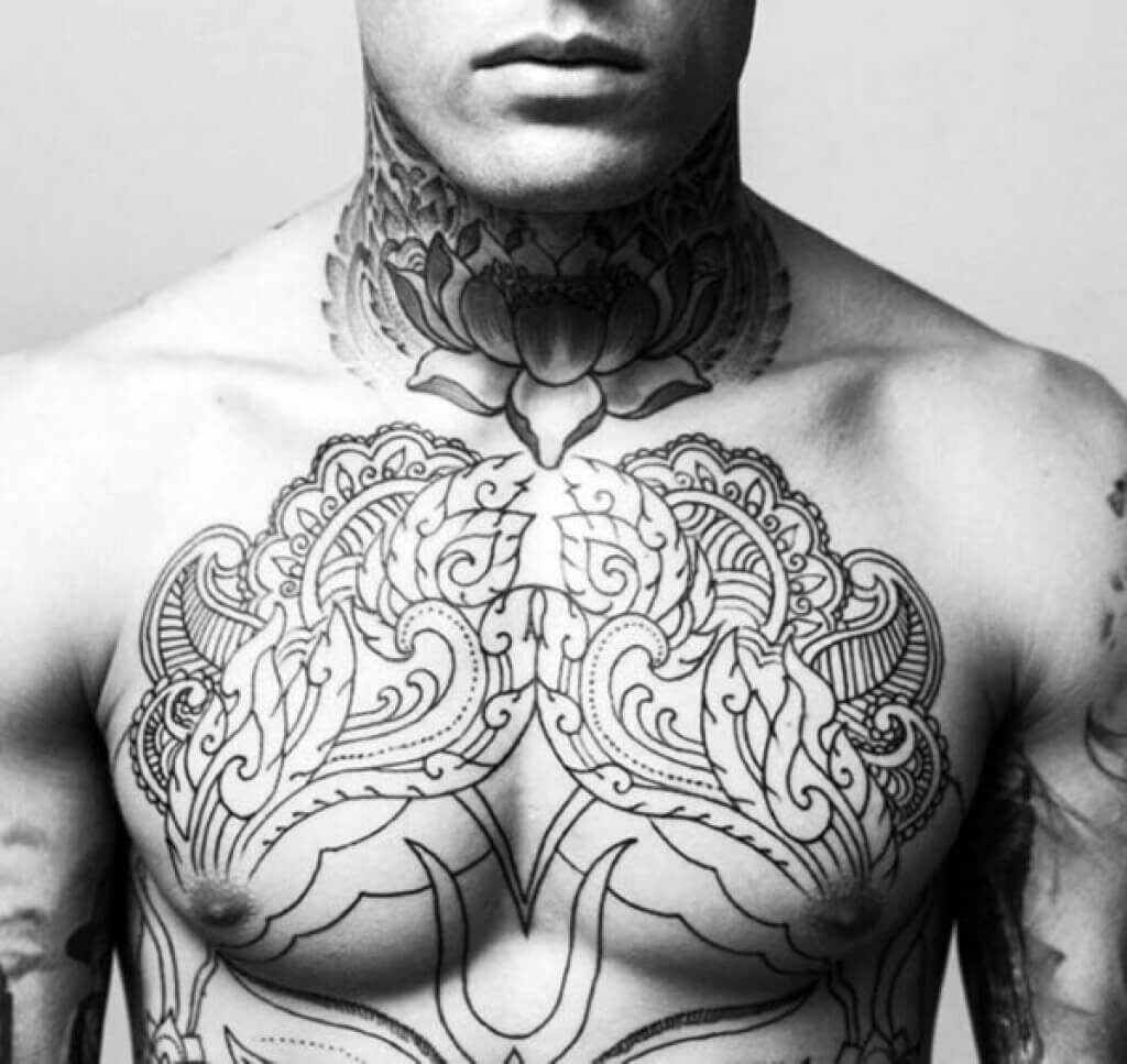 male chest piece tattoo designs
