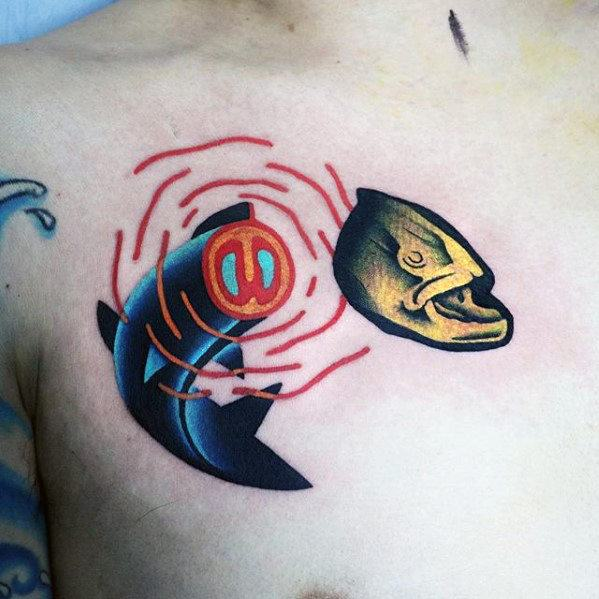good places for small tattoos on guys on chest