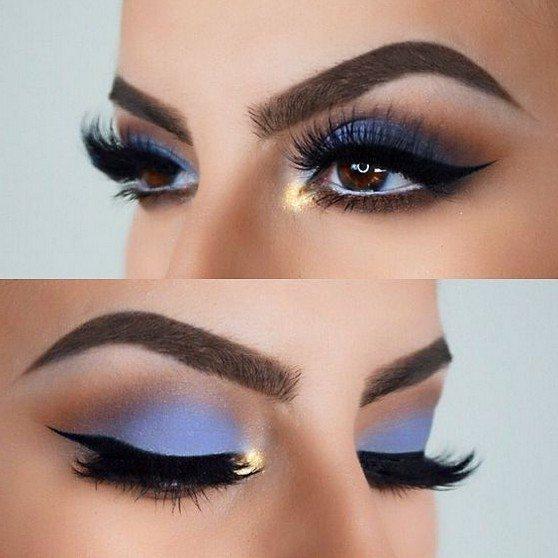 great navy blue and gold eye makeup art ideas