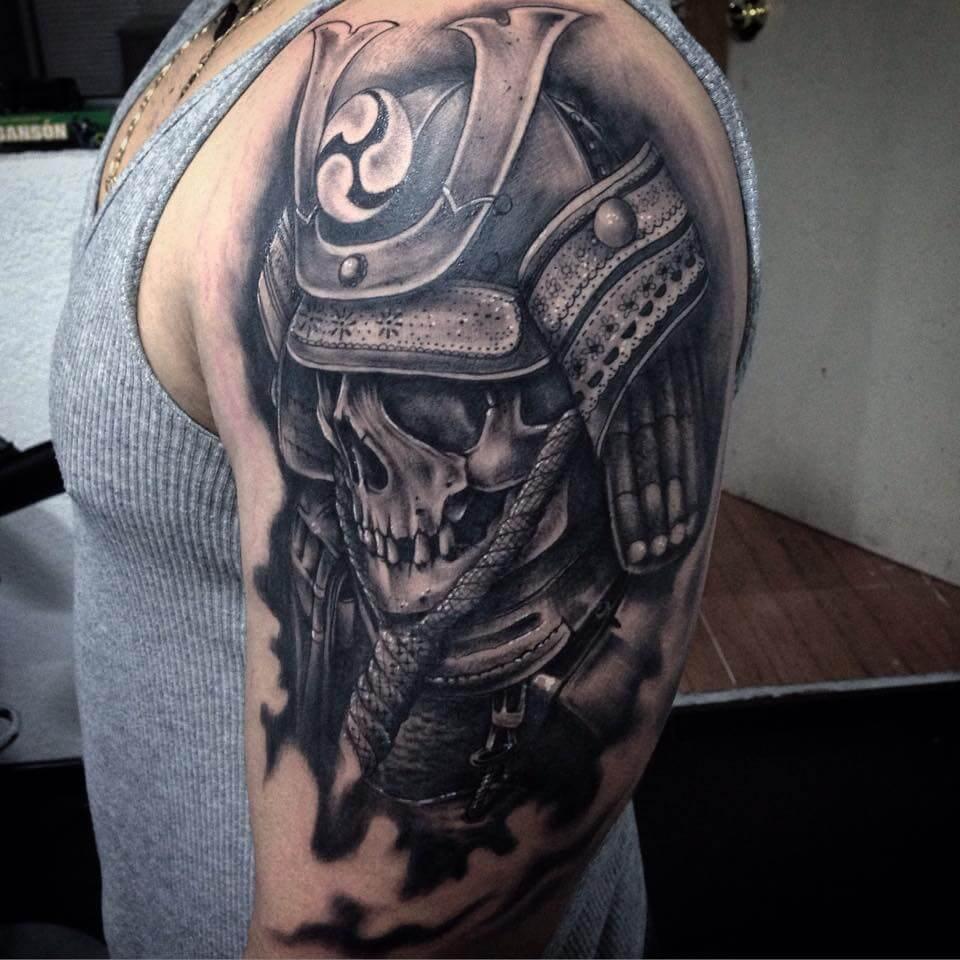 japanese samurai skull geometric tattoo full sleeve for male