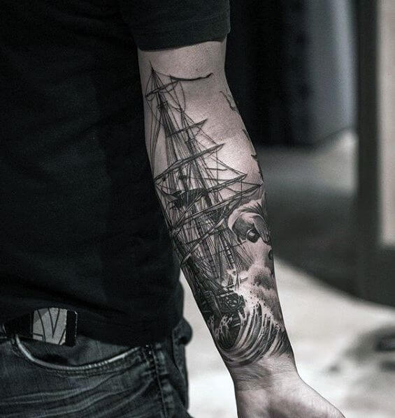 old ship inner forearm tattoo placement
