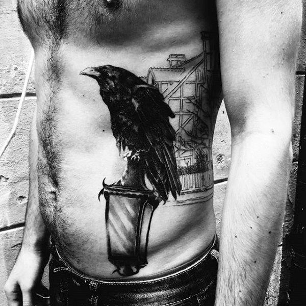 raven tattoo on guy