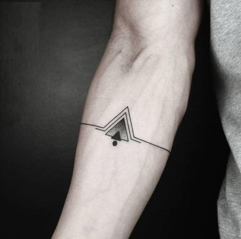 pyramid symbol forearm band tattoos for guys
