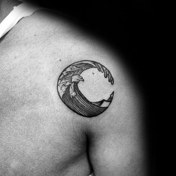 moon cool tattoo ideas for men small on shoulder