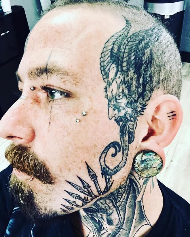 evil temporary face tattoos for men design