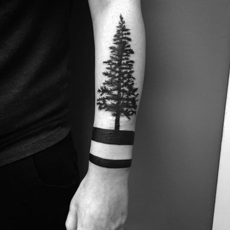 black tree tattoo for boys arm ideas