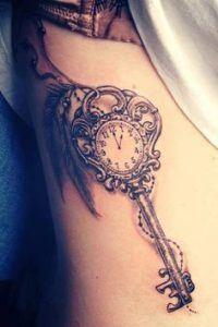 key side tattoo ideas for females stomach design