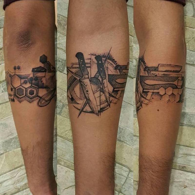 knife tattoo ideas for men arm design
