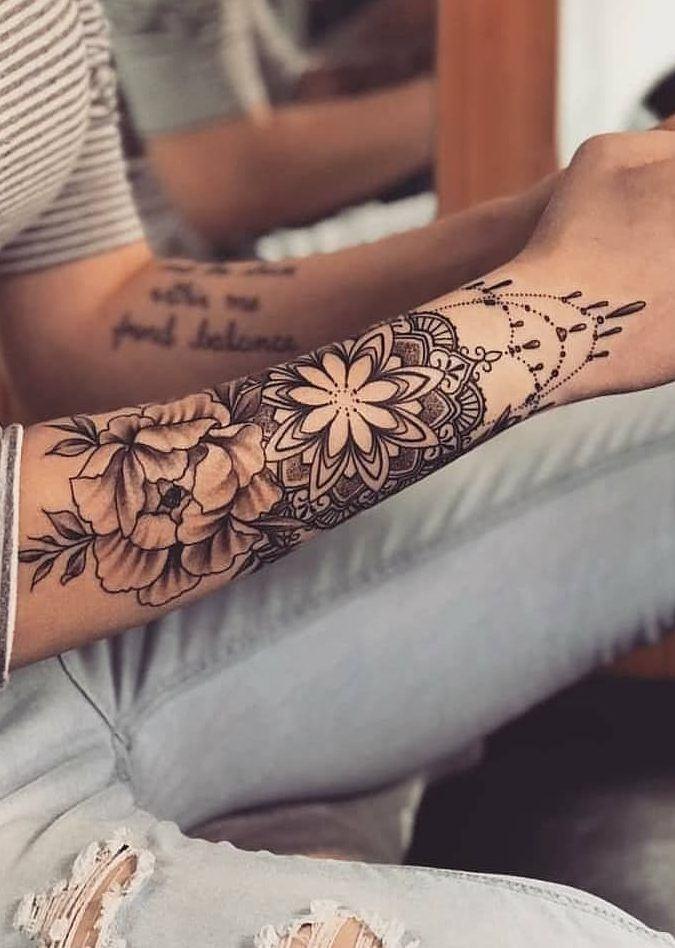 mandala flower womens forearm tattoos design pictures