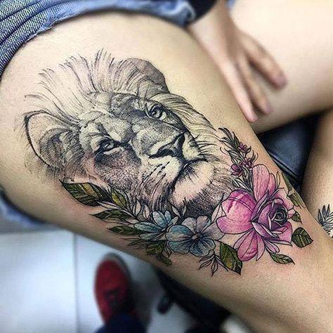 lion head rib tattoo ideas for females