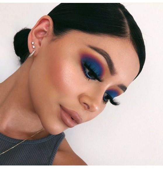 great blue and green eyeshadow looks images