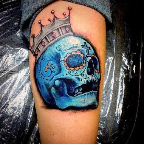 blue colour skull popular tattoos for men