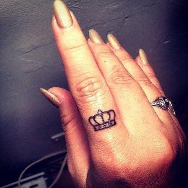 crown ladies hand tattoo designs