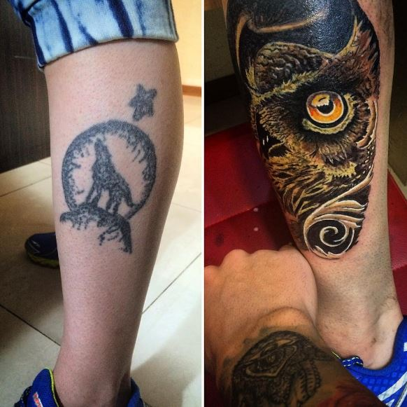 cover up tattoo design on legs for male