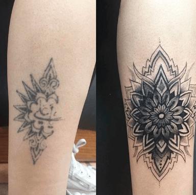 black mandala female flower sleeve tattoos on arm