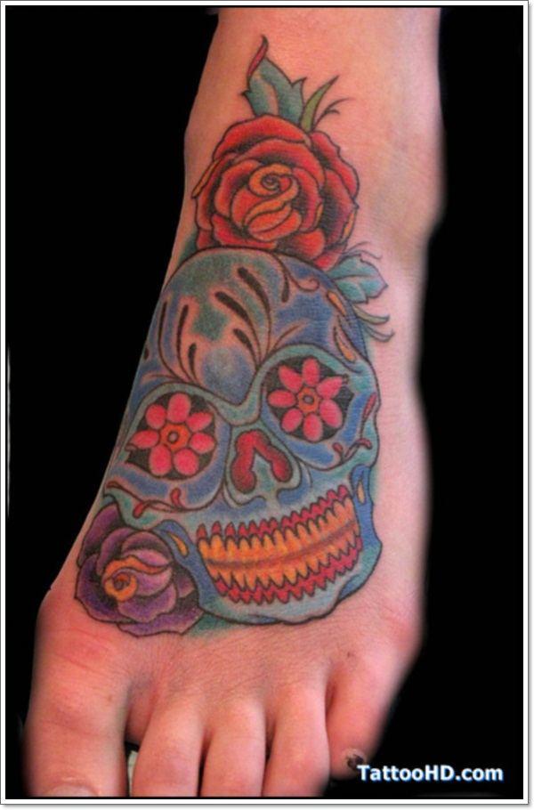 red rose skull body art design on foot