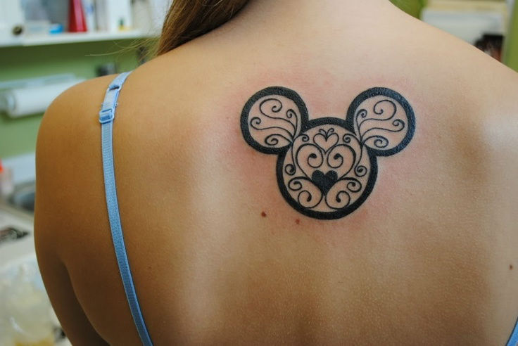 small mickey cover up back tattoos for ladies