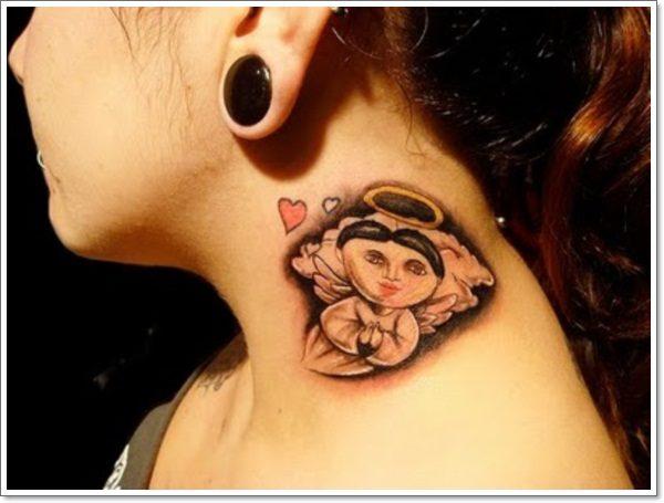 angel small tattoo designs on neck