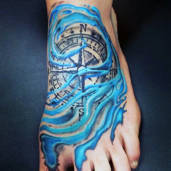 compass tattoos on your foot design