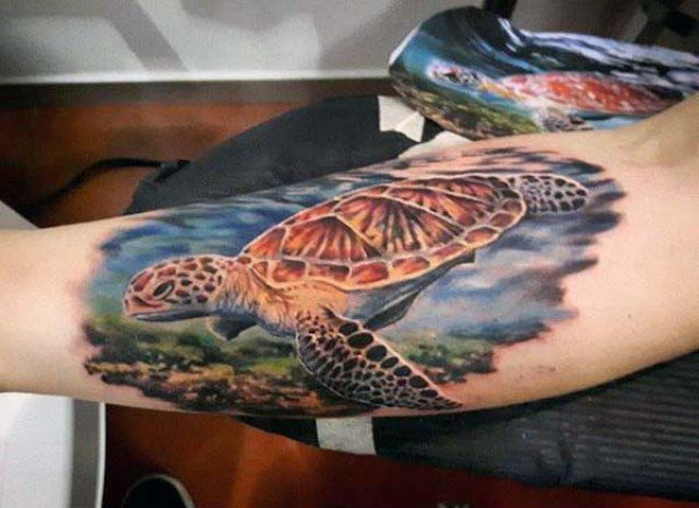 color island turtle tattoo designs on arm for male